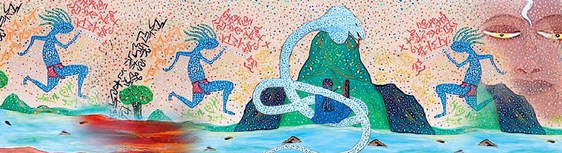 loup blanc tambour peinture chamanisme