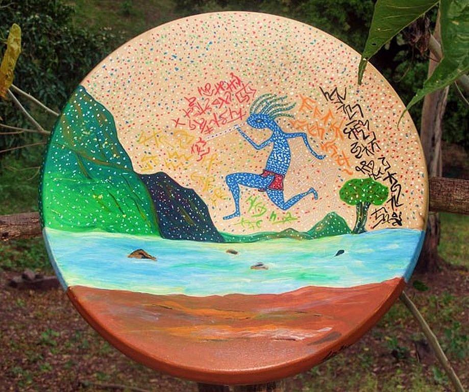Peintures initiatiques faites par Loup Blanc sur des tambours chamaniques